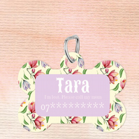 Floral Custom Pet Tag, Personalised Pet tag makes the perfect dog collar pet tag