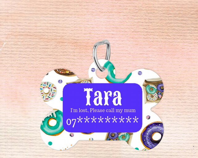 Donut Custom Pet Tag, Personalised Pet tag makes the perfect dog collar pet tag,