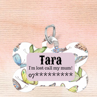 Butterfly Custom Pet Tag, Personalised Pet tag makes the perfect dog collar tag
