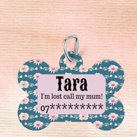 Blue Floral Custom Pet Tag, Personalised Pet tag
