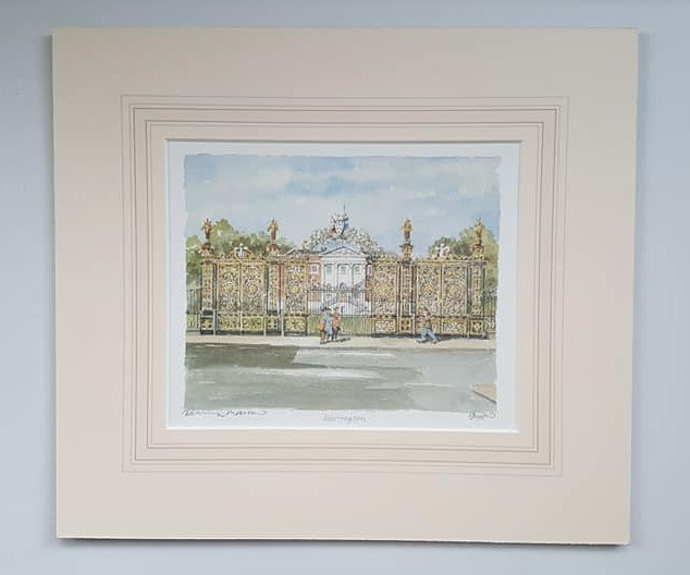Watercolour Print of Warrington UK Golden Gates, Limited Edition Print