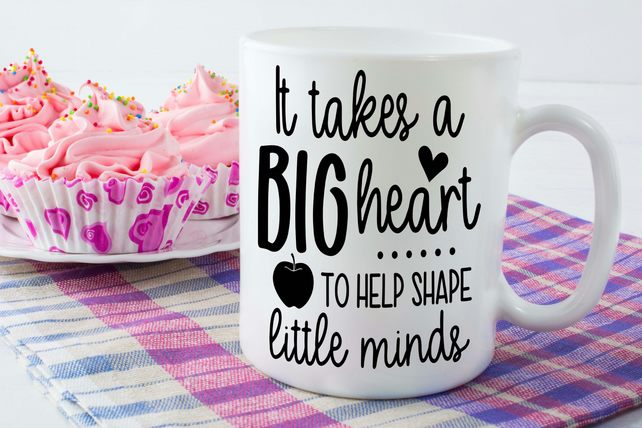 Teacher Thank You Gift, It Takes a big heart teacher mug