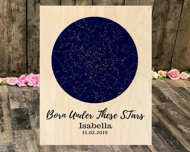 Born Under These Stars Maple Wood Panel 10 x 8 inches, baby birth Announcement