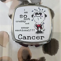 Panda Bear Cancer Mirror Compact, gift for June birthday or July birthday