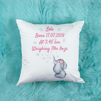 Personalised Baby Girl Pillow, Beautiful Nursery decor, perfect for baby showers