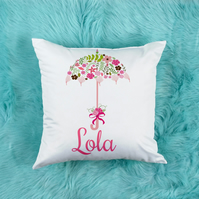 Personalised Floral Pillow, Beautiful Nursery decor or kids room decor
