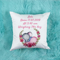 Personalised Baby Girl Pillow, Beautiful Nursery decor, perfect for baby shower