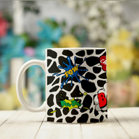 Cow Print Comic Book Mug, The perfect ceramic coffee mug for a geek!