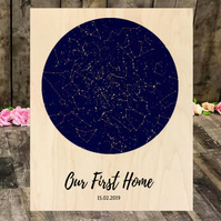 Custom Star Map Our New Home Maple Wood Panel 10 x 8 inches,