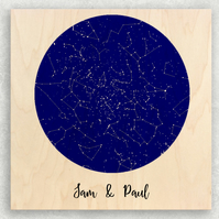 Under These Stars Maple Wood Panel 8 x 8 inches, The Perfect 5th Wedding Anniver