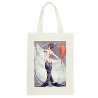 Elegant Lady Tote Bag, Beautiful Gift For Her Long Handled Shopping Bag