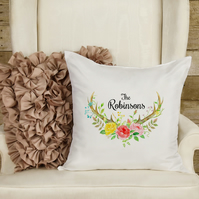 Antler and Floral Personalised Pillow, The perfect family gift