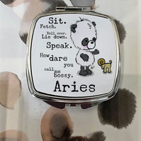 Panda Bear Aries Mirror Compact, Perfect birthday gift for March or April