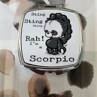 Panda Bear Scorpio Mirror Compact, The perfect gift for Oct or Nov Birthday