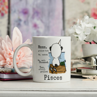 Pisces Ceramic Coffee Mug, February birthday or March birthday gift