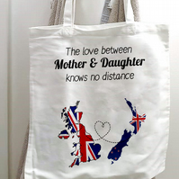 Long Distance Tote Shopping Bag, For Mother & Daughter or Mother and Son, Father