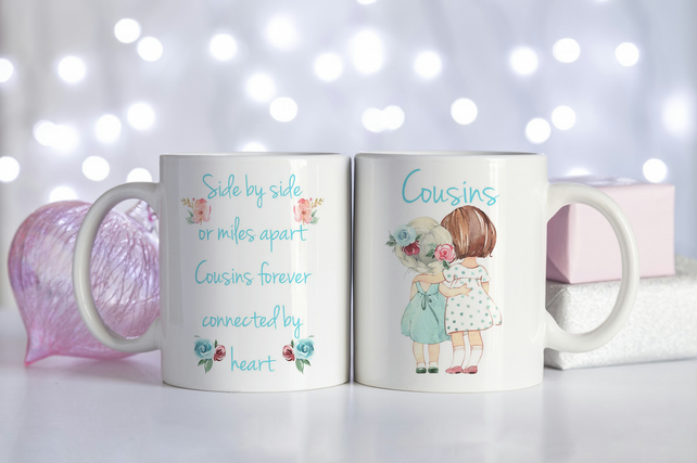 Cousins ceramic coffee mug, The perfect bridesmaid gift for a cousin