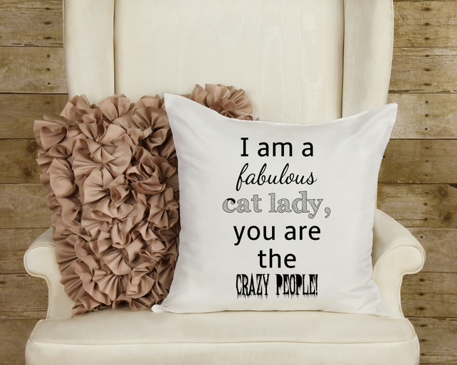 Cat Lady Throw Pillow, The perfect best friend gift for a crazy cat lady!