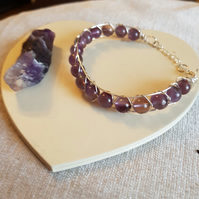 Cat collar, with Amethyst 8mm Gemstone Beads, and Extension Chain, with lobster