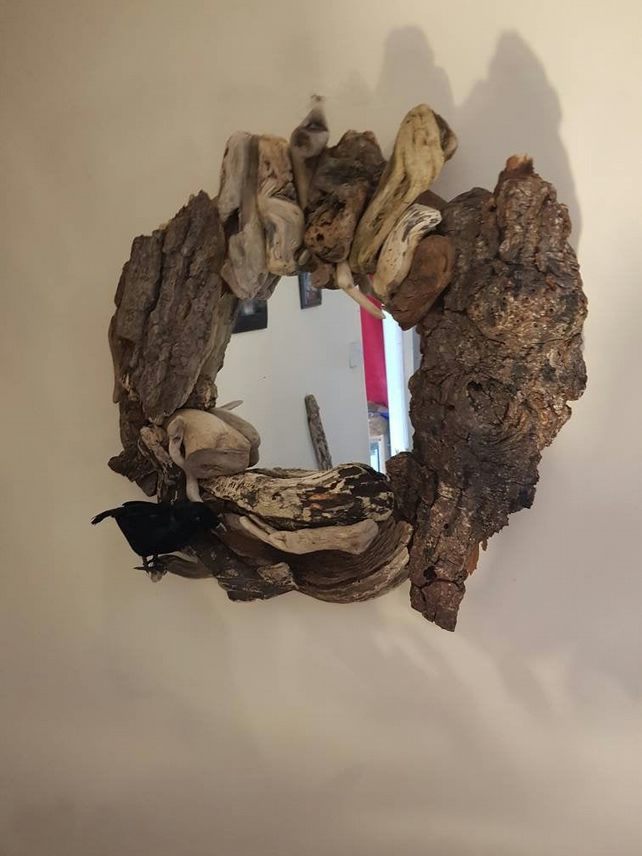 Driftwood Mirror 54cm Diameter Made with Stunning Driftwood Pieces and bark