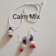 Reiki Pendant and Earrings set, with Crystal Prescription for Calm. Sterling Sil