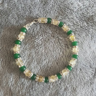 Citrine and Aventurine Cat Collar with Rhinestone Spacers and Lobster Clasp Fast