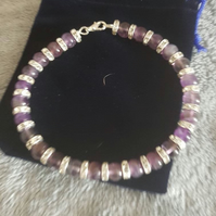 Amethyst and Rhinestone Cat Collar with Lobster Clasp Fastening.