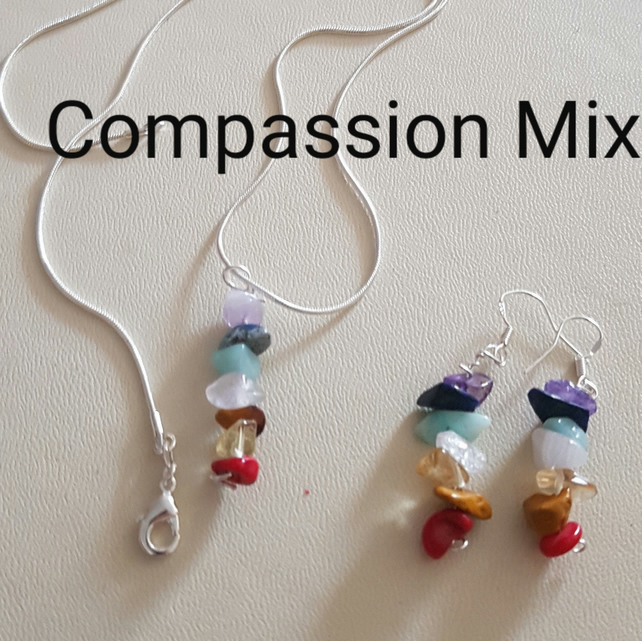 Reiki Pendant and Earrings set, with Crystal Prescription for Compassion. Sterli