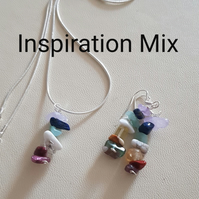 Reiki Pendant and Earrings set, with Crystal Prescription for Inspiration. Sterl