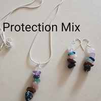 Reiki Pendant and Earrings set, with Crystal Prescription for Protection. Sterli