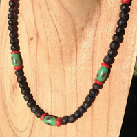 Necklace with rare antique Venetian trade and new African recycled glass beads