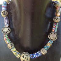 Bead necklace with recycled brass and glass beads and handmade clasp from Ghana