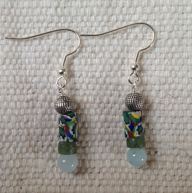 Earrings with small, rare antique millefiori trade beads
