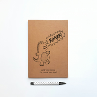 Cute Personalised Children's Dinosaur Notebook Mini Illustrated Roar Journal