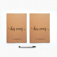 Personalised His Her Vows Wedding Journal Bride Groom Notebooks Engagement Gift