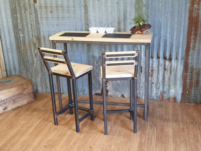Industrial reclaimed high poseur table breakfast bar