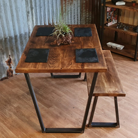Calia Industrial reclaimed style style dining table with bench