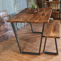 extending dining table with Calia style legs and bench