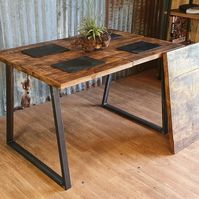 extending Industrial style dining table with steel Trapezium legs and bench