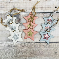 Clay Christmas star decoration set