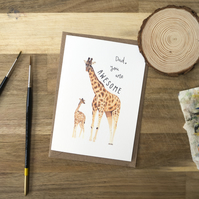 Dad You Are Awesome Giraffe Card Father's Day Card