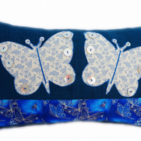 Cushion, Blue Butterfly design appliqué Throw Pillow