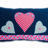 Cushion, Pink & Blue Hearts design appliqué Throw Pillow