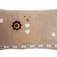 Cushion, Beige Teddy Bear design appliqué Throw Pillow