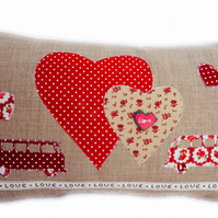 Cushion, Red Camper Van design appliqué Throw Pillow