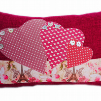 Cushion, Hearts and Paris design appliqué Throw Pillow