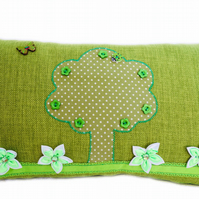 Cushion, Green Tree & Flowers design appliqué Throw Pillow