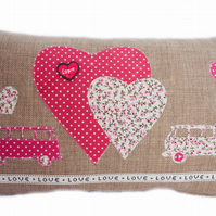 Cushion, Pink Camper & Hearts design appliqué Throw Pillow