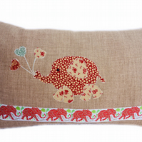Cushion, Red, Beige Elephant with Balloons appliqué Throw Pillow