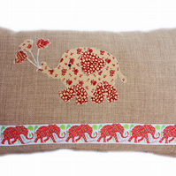 Cushion, Beige, Red Elephant with Balloons appliqué Throw Pillow